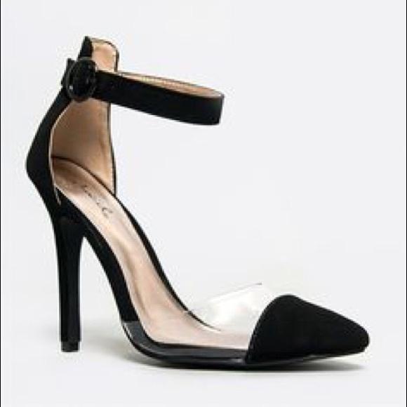Qupid Shoes - NIB Qupid Black Ankle Strap Clear Pumps